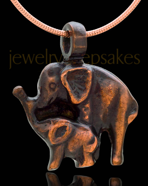 Memorial Locket Copper Two Elephants Keepsake