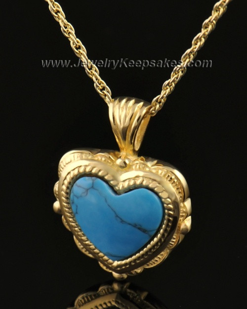 Cremation Heart 14k Gold Turquoise Pendant