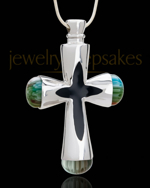 Silver Plated Adorn Cross Cremation Urn Pendant