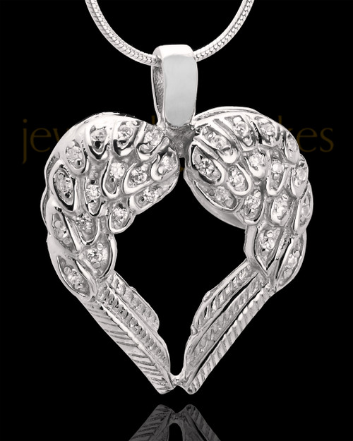 Winged Memories Sterling Silver Heart Cremation Pendant