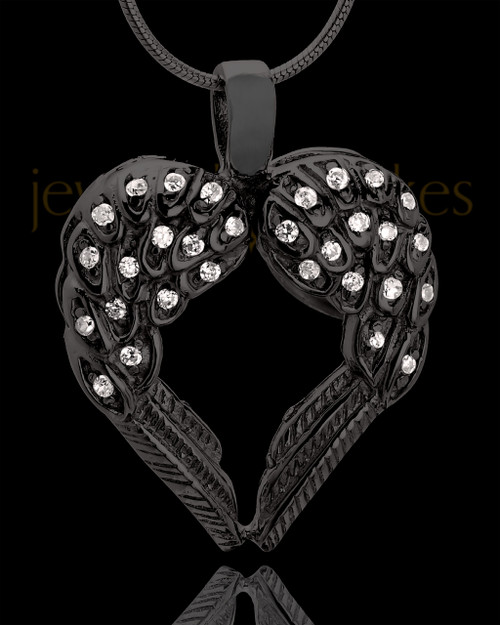 Black Plated Winged Memories Heart Keepsake Jewelry