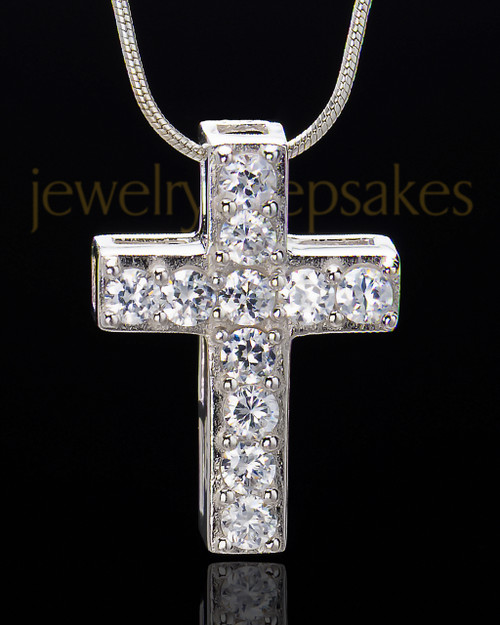 Sterling Silver Saintly Cross Cremation Urn Pendant