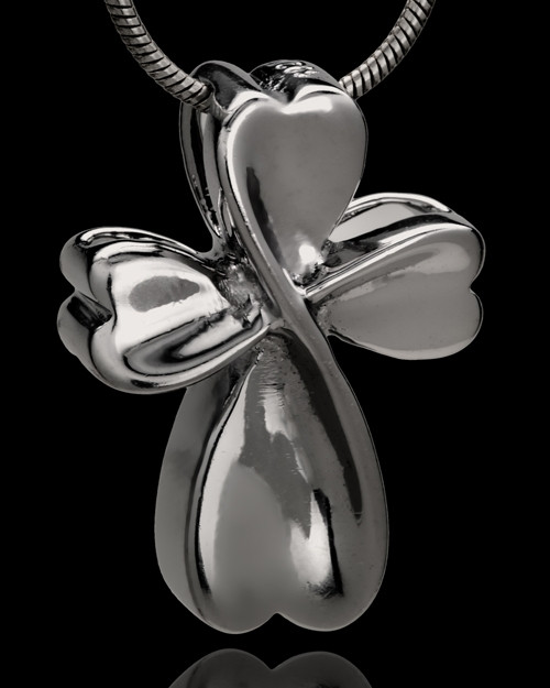 Black Plated Timeless Cross Cremation Urn Pendant