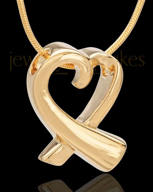 Gold Plated Ribboned Heart Remembrance Urn Pendant