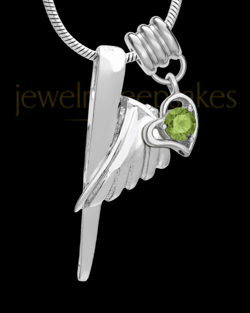 Sterling Silver Grace Cremation Urn Pendant - August