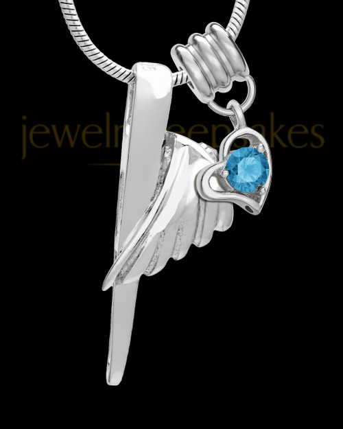 Sterling Silver Grace Cremation Urn Pendant - December