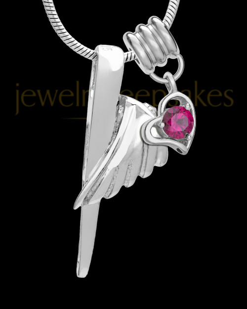 Sterling Silver Grace Cremation Urn Pendant - July