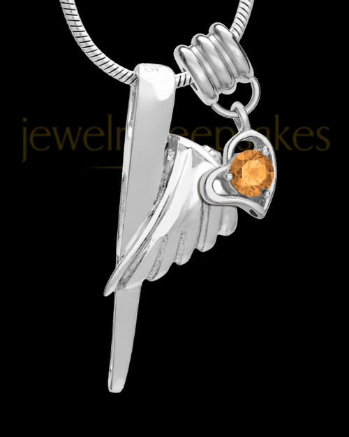 Sterling Silver Grace Cremation Urn Pendant - November