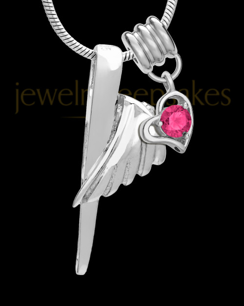 Sterling Silver Grace Cremation Urn Pendant - October