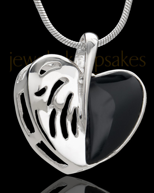 Silver Plated Twofold Heart Cremation Urn Pendant