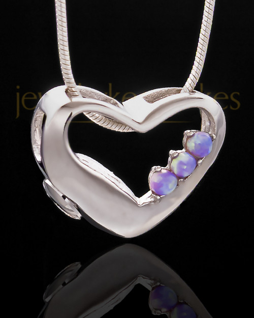 Silver Plated Receptive Heart Cremation Urn Pendant