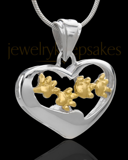 Silver and Gold Plated Lighthearted Pet Cremation Urn Pendant