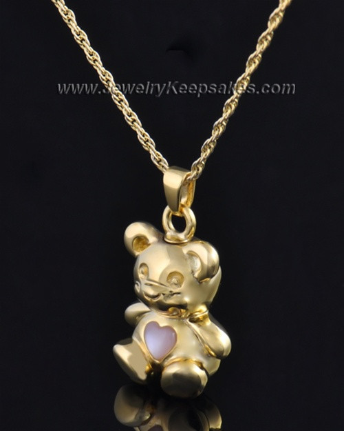 Gold Plated Happy Bear with Pink Heart Cremation Pendant