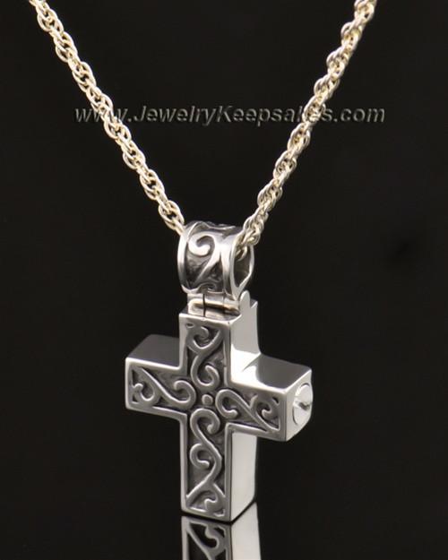 14k White Gold Unity Cross Pendant