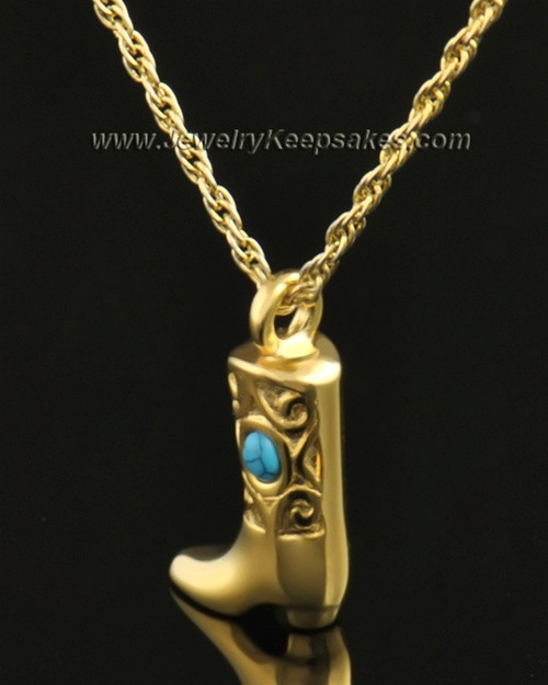 14k Gold Country Boot Urn Pendant