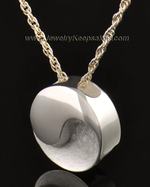 14k White Gold Paired Round Urn Pendant