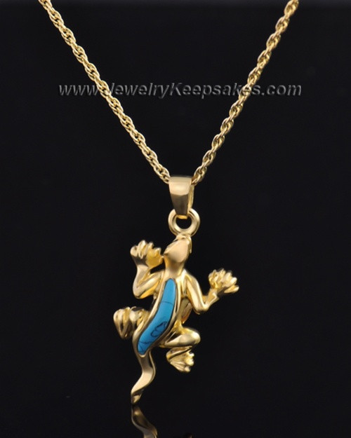 Gold Plated Gecko with Turquoise Keepsake
