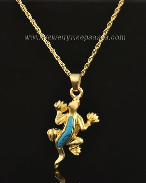 14k Gold Gecko with Turquoise Keepsake