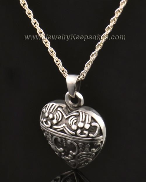 14k White Gold Artful Heart Urn Pendant