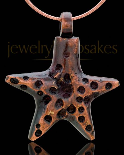 Copper Starfish Cremation Pendant