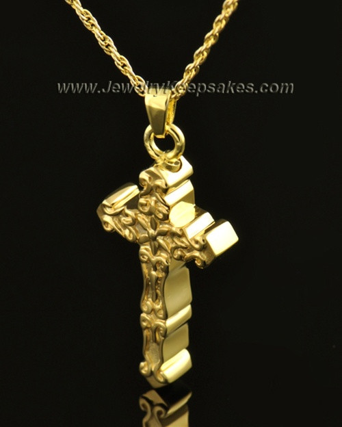 14k Gold Embellished Cross Cremation Necklace