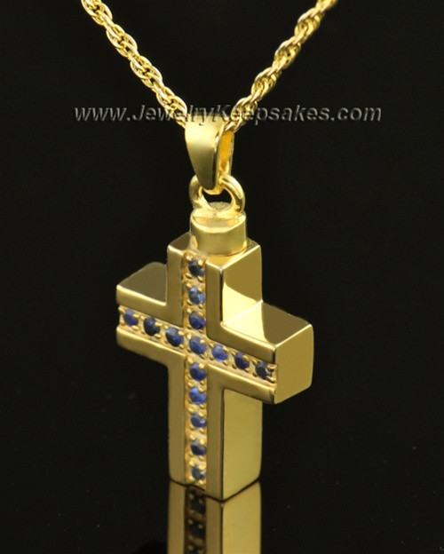 14k Gold Royal Cross Cremation Necklace