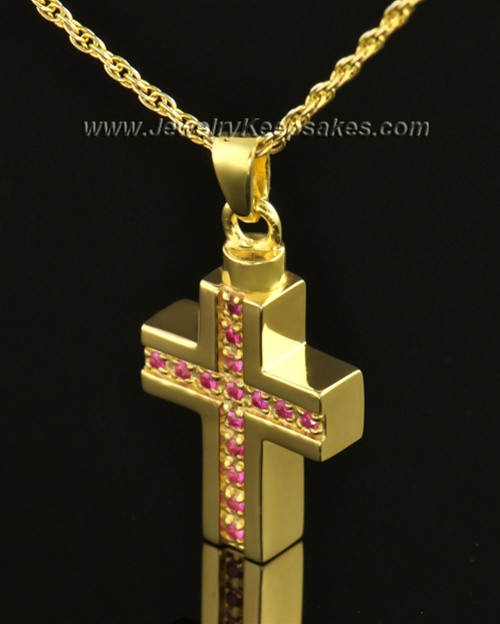 14k Gold Tender Cross Cremation Necklace