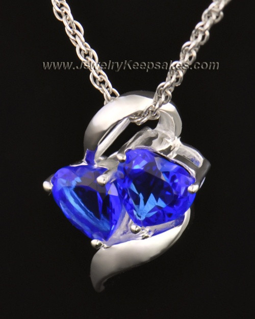 14k White Gold Hearts Entwined Cremation Necklace