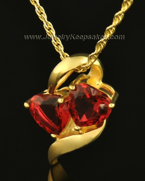 14k Gold Hearts on Fire Cremation Necklace
