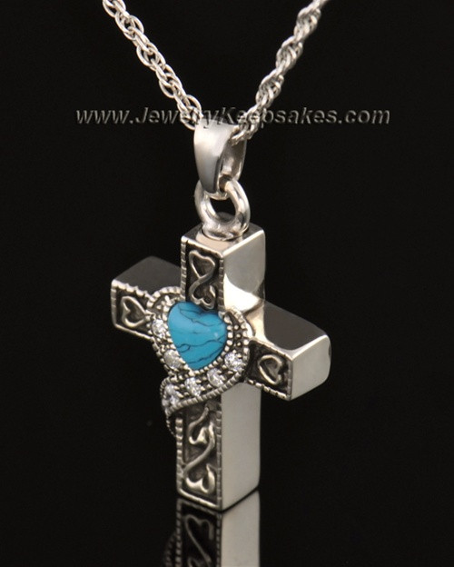 14k White Gold Turquoise Cross Cremation Necklace