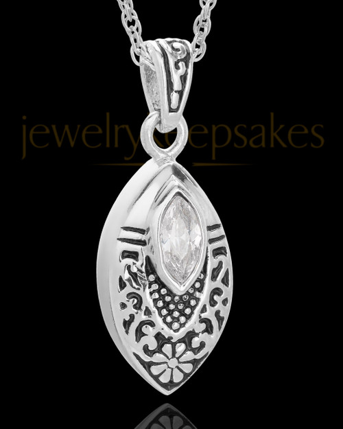 Stainless Decorated Teardrop Urn Pendant