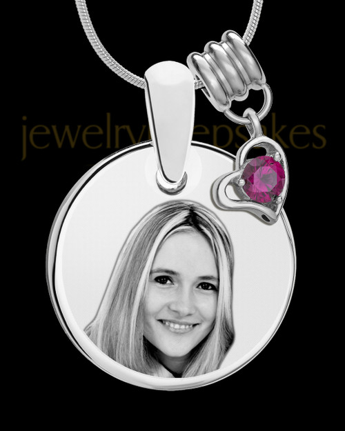 July Photo Engraved Round Pendant Stainless Steel