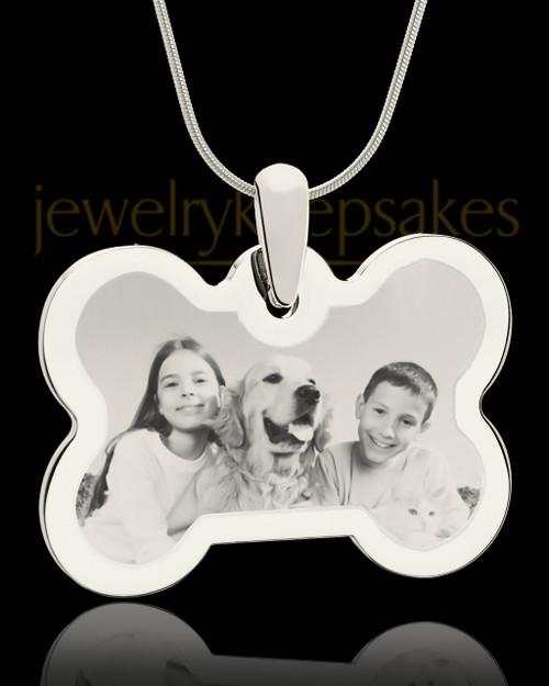 Photo Engraved Bone Pet Pendant Silver Plated