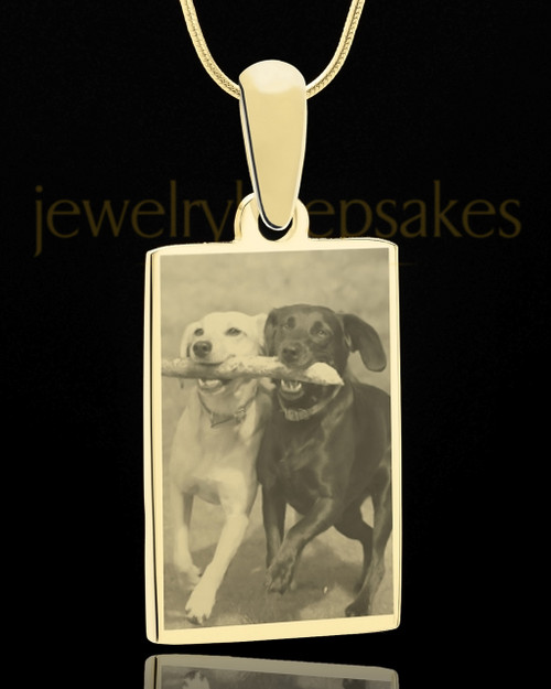 Photo Engraved Rectangle Pet Pendant Gold Plated over Stainless Steel