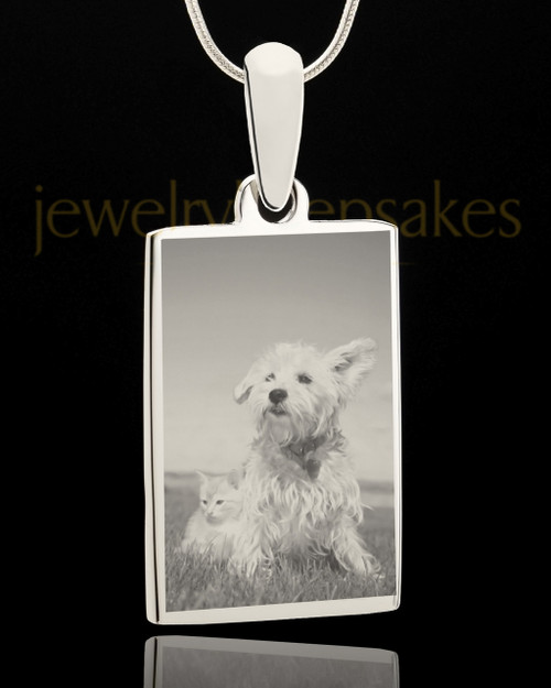 Photo Engraved Rectangle Pet Pendant Stainless Steel