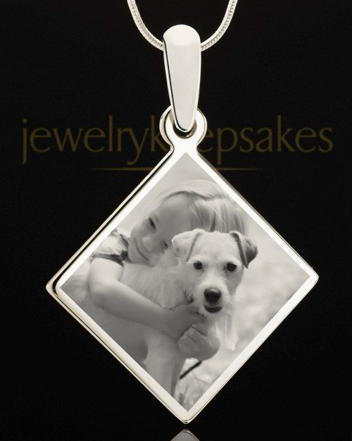 Photo Engraved Diamond Pet Pendant Stainless Steel