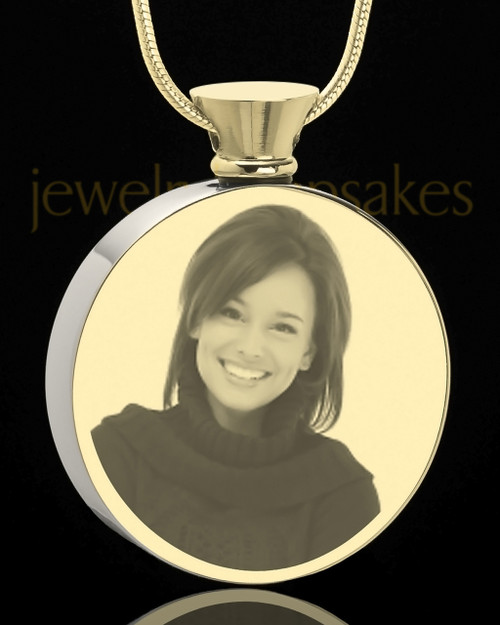 Photo Engraved Round Stainless Gold Plated Cremation Pendant