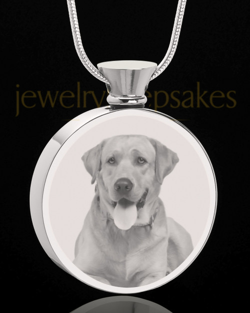 Photo Engraved Round Stainless Steel Pet Cremation Pendant