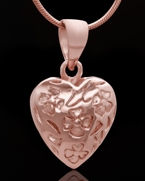 Rose Gold Plated Spooled Heart Keepsake Jewelry