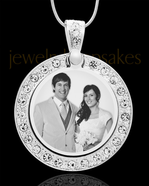 Photo Engraved Gem Circle Pendant Stainless Steel