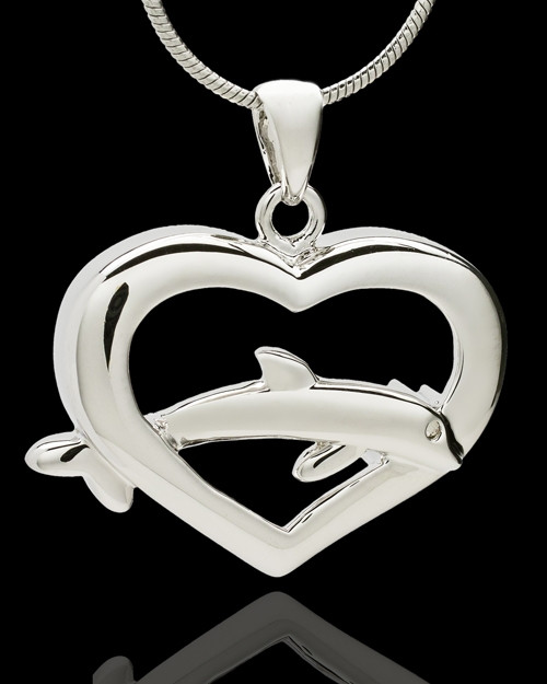 Sterling Silver Leaping Love Heart Cremation Pendant
