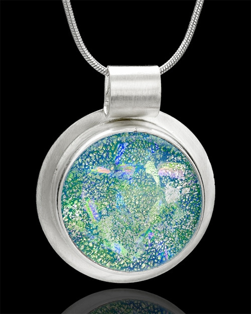 Sterling Silver Iridescent Round Keepsake Jewelry