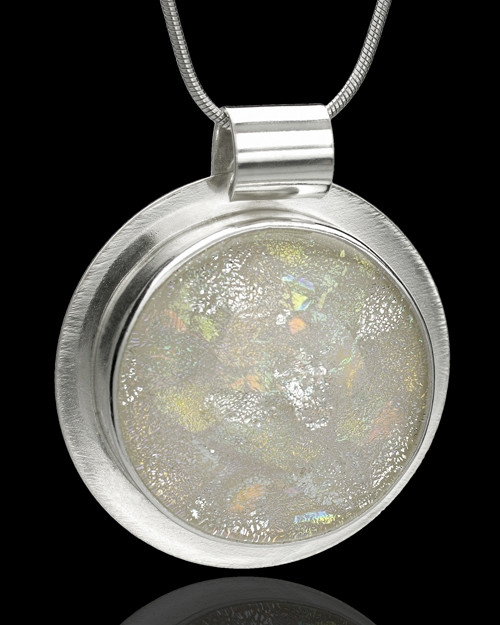 Large Sterling Silver Opalescent Round Keepsake Jewelry