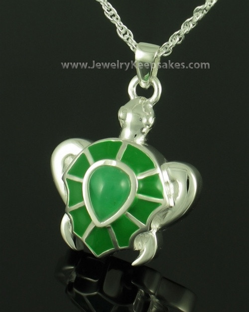 Silver emerald turtle memorial necklaces will hold an honor cremation jewelry sterling silver emerald turtle keepsake aloadofball Choice Image
