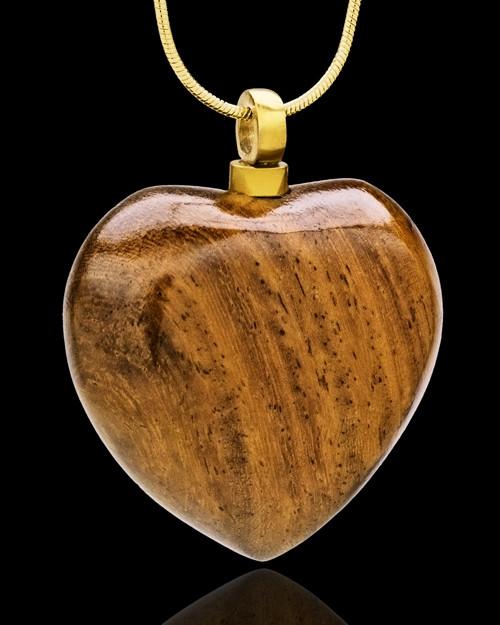 Cremains Keepsake Timber Heart w/Gold