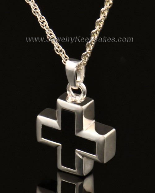 Cremation Necklace Jewelry 14k White Gold Mystic Cross Keepsake