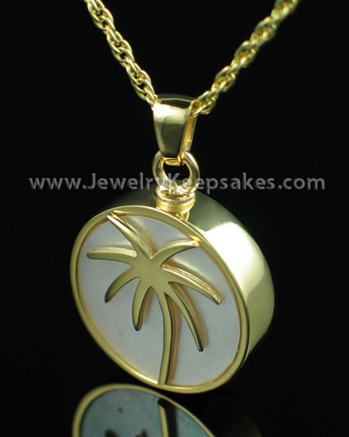 Memorial Locket Gold Vermeil Tropical Keepsake