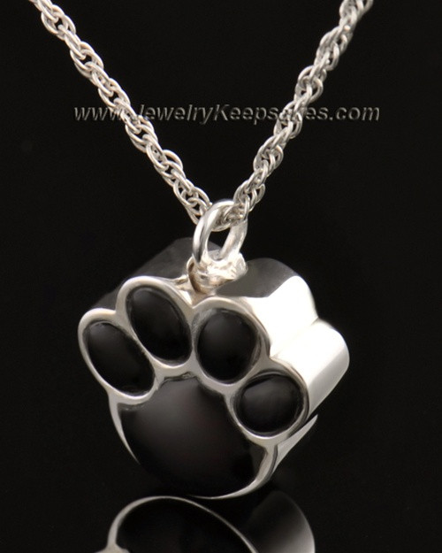 Pet Cremation Ash Jewelry 14K White Gold Muddy Paw Keepsake