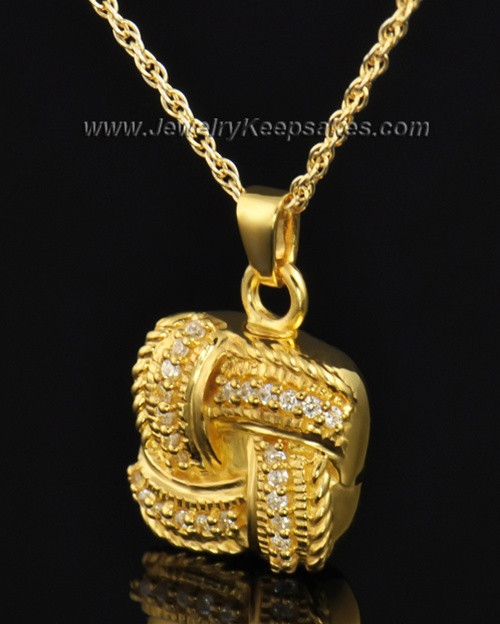 Cremation Keepsake Gold Plated Interlace