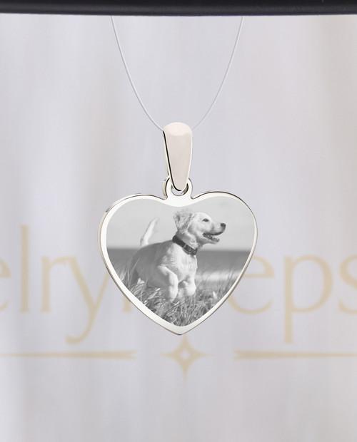 Heart Stainless Pet Reflection Photo Keepsake